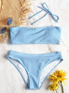 Halter Ribbed Texture Bikini Set - Day Sky Blue M