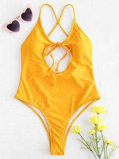 Cutout Tie Front High Cut Swimsuit - Mustard M