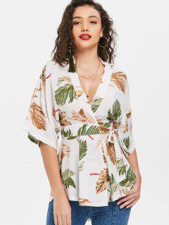 Palm Leaf Mini Kimono Wrap Blouse - White L