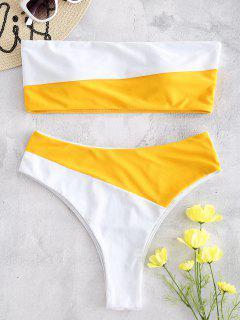 Bandeau Farbblock Hoch Taillierter Bikini - Milchweiß S