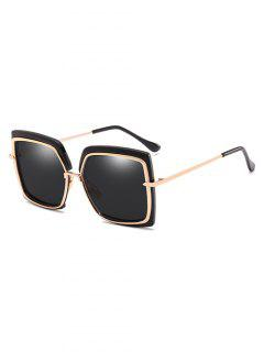 Anti UV Metal Frame Square Oversized Sunglasses - Black
