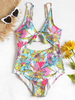 Flowers High Waisted Cut Out Swimsuit - Corn Yellow M