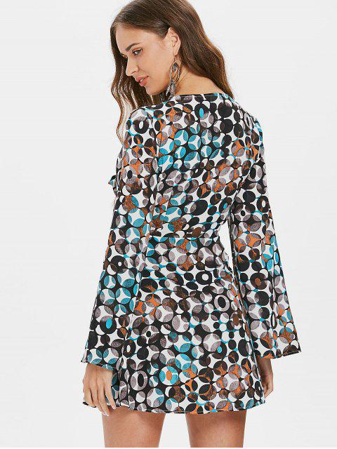 outfits Tie Front Plunge Printed Dress - MULTI XL Mobile