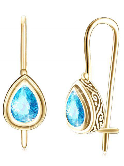 Boucles d'Oreilles Pendantes Incrustées de Zircon Style Vintage - Bleu Zircon  Mobile
