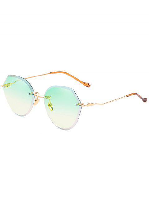 outfits Anti Fatigue Irregular Lens Rimless Sunglasses - GREEN  Mobile