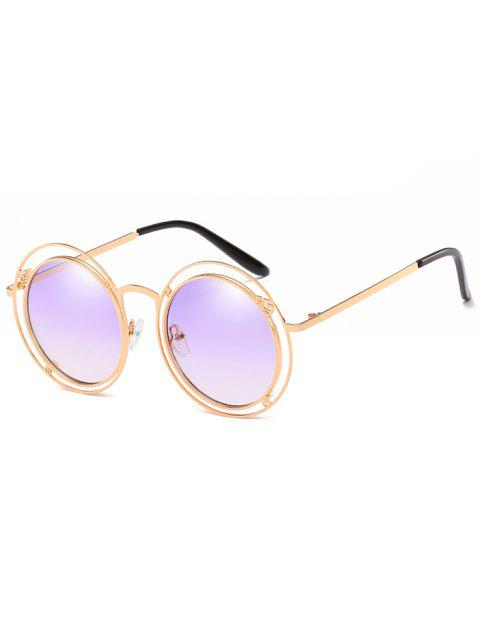 fancy Statement Hollow Out Frame Round Sunglasses - MAUVE  Mobile