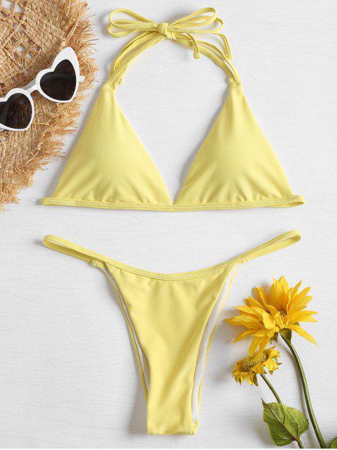 fancy Halter String Low Waist Bikini - YELLOW L Mobile