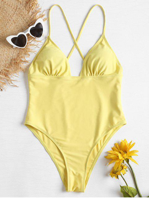 latest High Cut Cross Strap Swimsuit - SUN YELLOW L Mobile