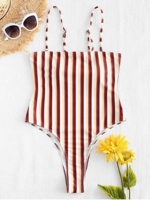 Traje de baño a rayas de corte alto - Multicolor S Mobile