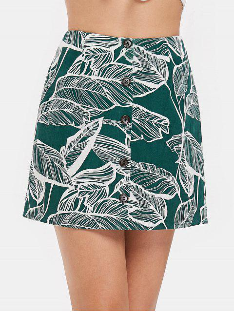 new Button Front Leaves Print Skirt - MEDIUM SEA GREEN XL Mobile
