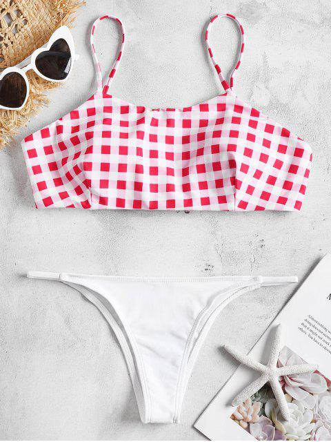 new Padded Checked Bikini Set - ROSE RED S Mobile