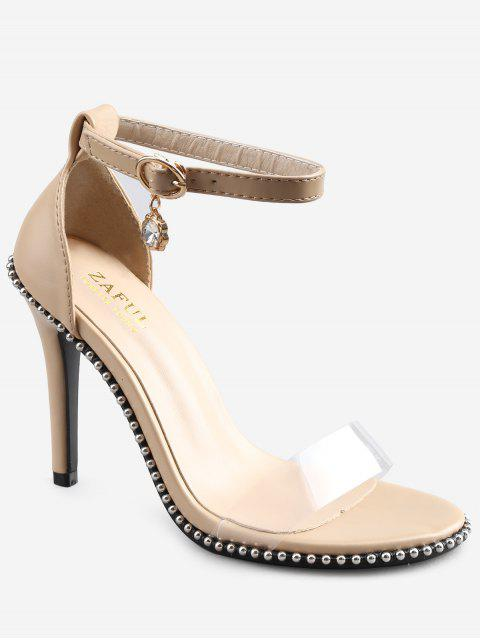 womens Crystal High Heel Transparent Strap Ankle Strap Sandals - APRICOT 38 Mobile
