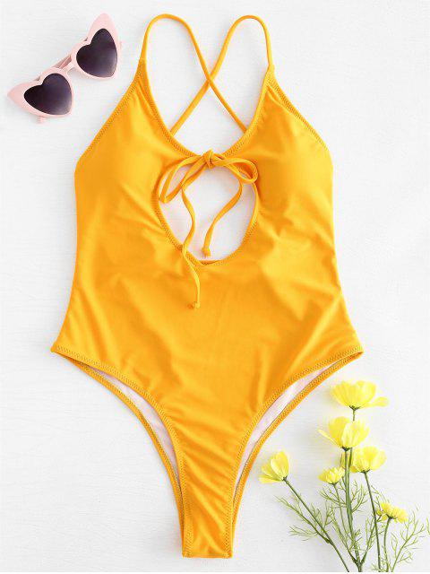 sale Cutout Tie Front High Cut Swimsuit - MUSTARD M Mobile