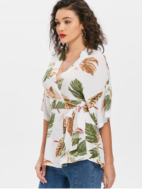 ladies Palm Leaf Mini Kimono Wrap Blouse - WHITE L Mobile