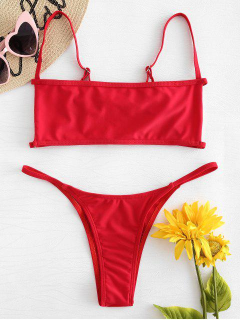 trendy Bralette Cutout Thong Bikini Set - RED M Mobile