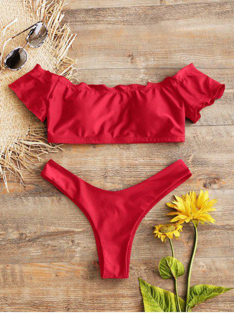 Volant Trim Schulterfreies Tanga Bikini Set - Rot S Mobile