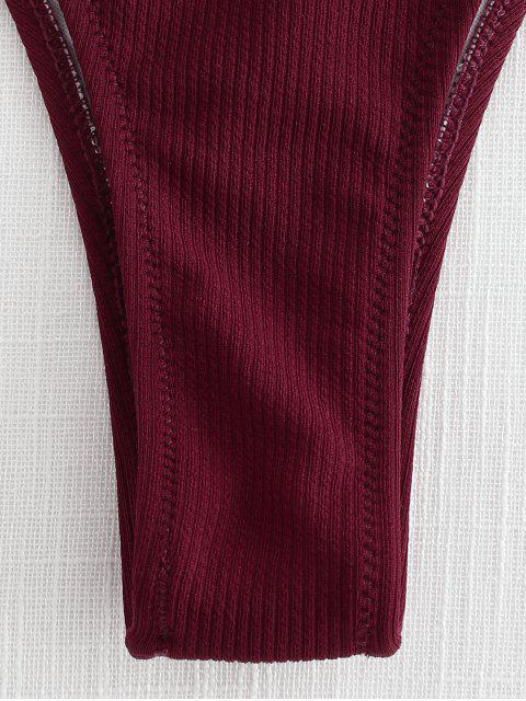 shops High Leg One Shoulder Ribbed Bikini Set - RED WINE L Mobile