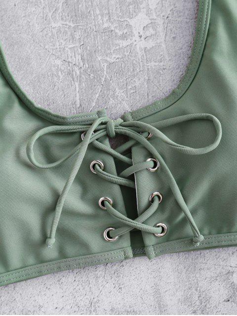На шнуровке С чашками Бикини в сборе - Камуфляж-зеленый M Mobile