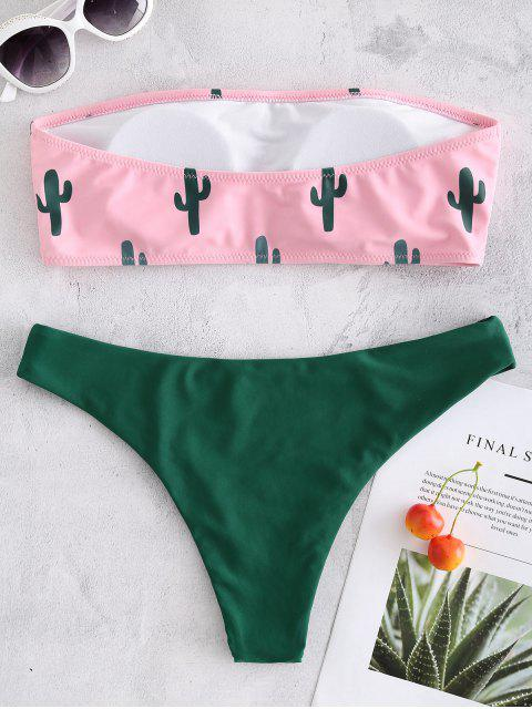 shops Cactus Print Bandeau Bikini - HOT PINK M Mobile
