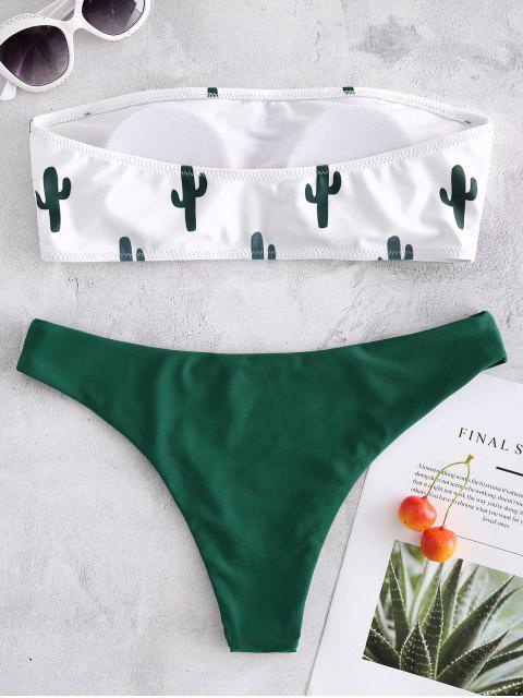 fashion Cactus Print Bandeau Bikini - WHITE L Mobile