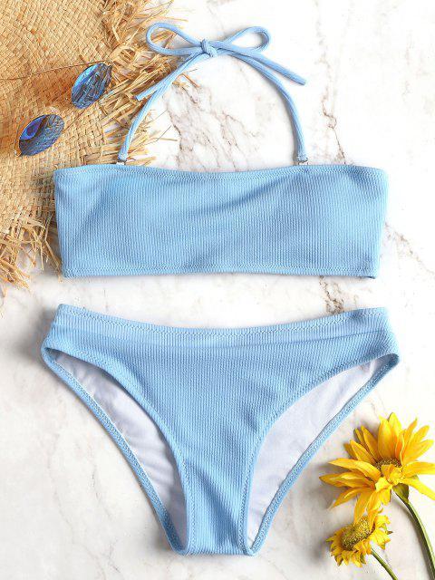 Ensemble De Bikini Licou Texture Côtelée - Bleu de Ciel  L Mobile