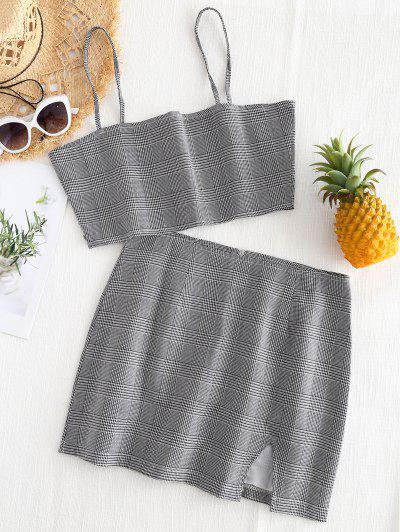 Bralette Plaid Top And Slit Mini Skirt Set - Checked L