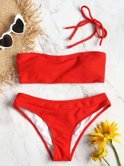 Halter Ribbed Texture Bikini Set - Red S