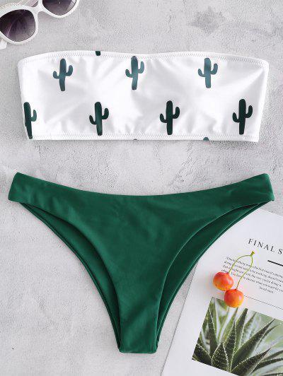 Bikini En Bandeau à Imprimé Cactus  - Blanc S