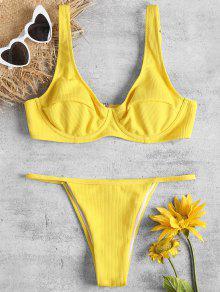 حمالة الصدر Underwired وثونغ السباحة - أصفر فاقع S