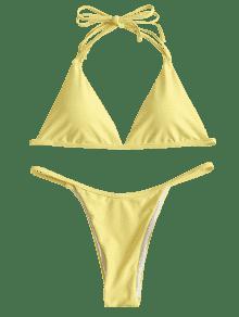 9b4606bec2 63% OFF  2019 Halter String Low Waist Bikini In YELLOW M