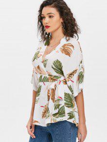 Kimono Palma Con Hoja De Pliegues De Blusa Blanco L En qPwZt6xPB