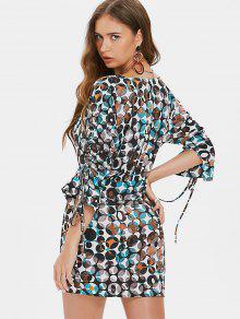 Mini Vestido Corte Bajo Multicolor De S Impreso qAqTRfr