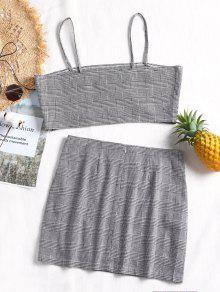Mini Plaid Bralette Set Slit Y Comprobado Skirt S Top xIxqpd7