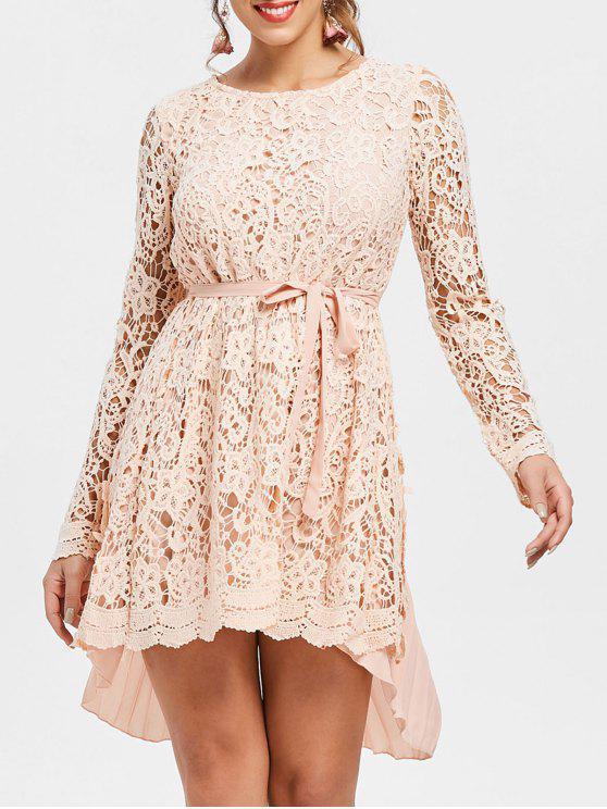Manga larga de alta baja mini encaje vestido plisado - Rosado L