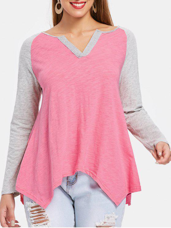 T-shirt à ourlet asymétrique avec manches raglan - Rose  2XL