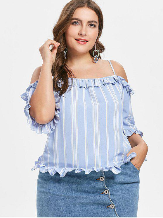 shops Plus Size Stripe Cold Shoulder Frills Trim Blouse - LIGHT BLUE 1X