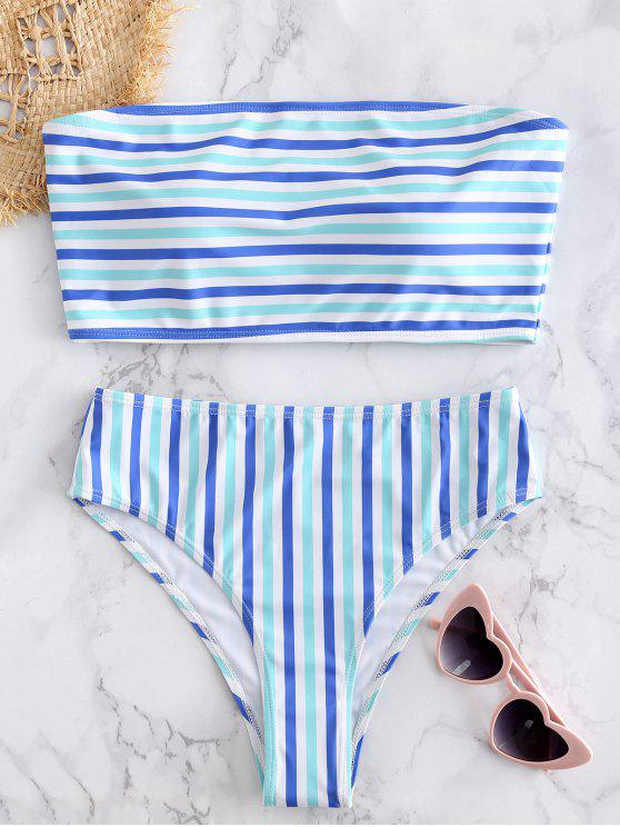 chic Striped Tube Top with High Cut Bikini Bottoms - BLUE GREEN S