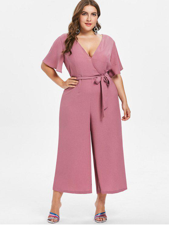 women Plus Size Wide Leg Belted Jumpsuit - TULIP PINK 4X