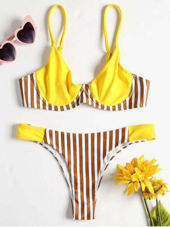 Bikini à armatures à taille basse et à rayures - Jaune Canard Caoutchouc L