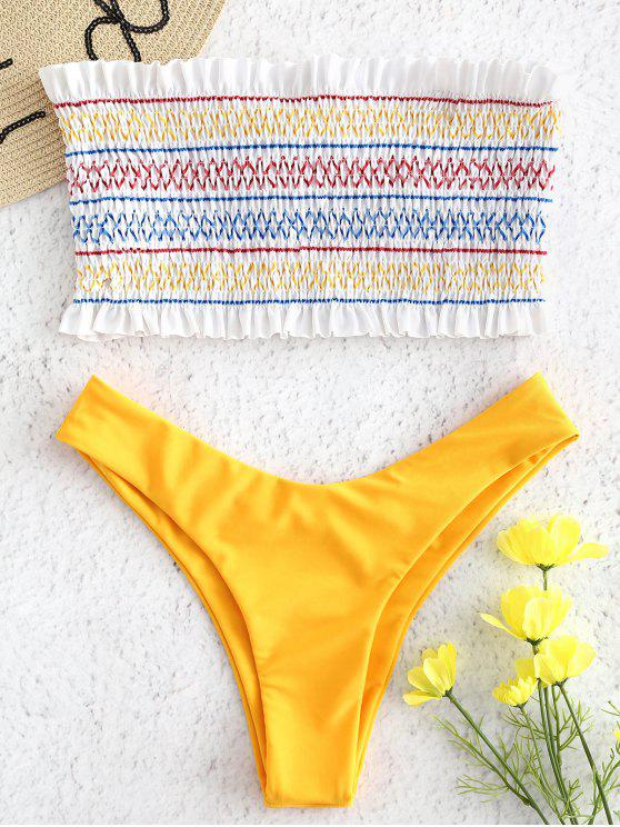 Babados em ziguezague Smocked Bandeau Bikini Set - Amarelo Brilhante M
