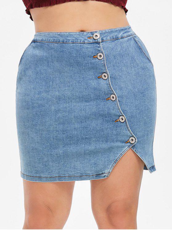 Saia Denim Abotoada Plus Size - Azul Denim 1X