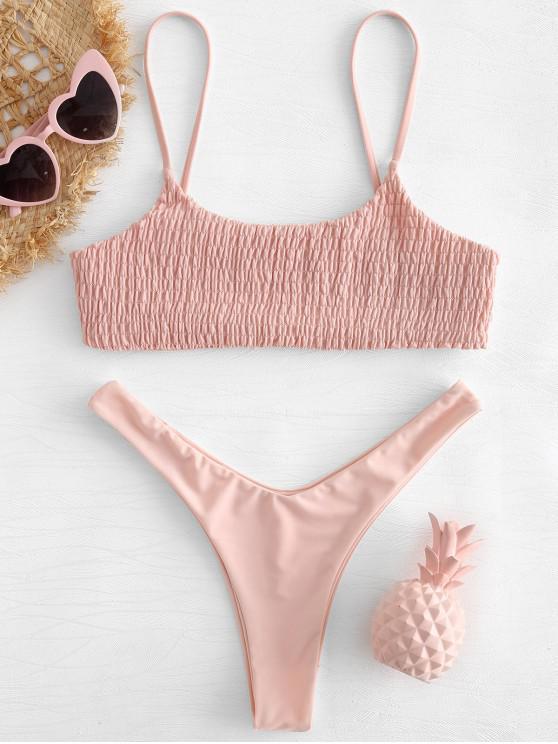 Smocked Hohes Bein Bikini Set - Rosa Kaugummi M