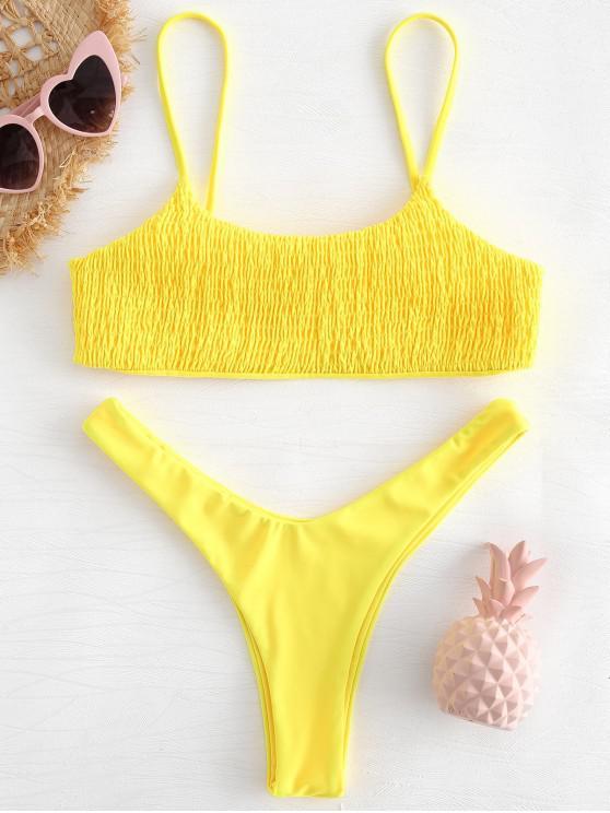 women's Smocked High Leg Bikini Set - YELLOW S