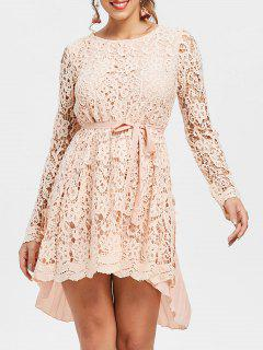 Long Sleeve High Low Mini Lace Pleated Dress - Pink 2xl