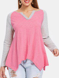 Raglan Sleeve Asymmetrical Tee - Pink M