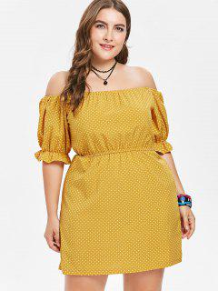 Off Shoulder Plus Size Polka Dot Dress - Bee Yellow 4x