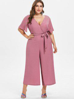 Plus Size Wide Leg Belted Jumpsuit - Tulip Pink 1x