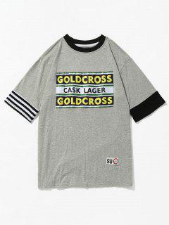 Contrast Trim Letter Print Patch Tee - Gray Xl