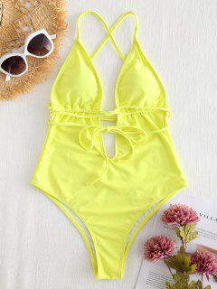 Cross Strap High Cut Plunge Swimsuit - Yellow L