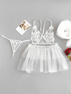 Babydoll Thong Panty Veil Wedding Ropa Interior Nupcial - Blanco